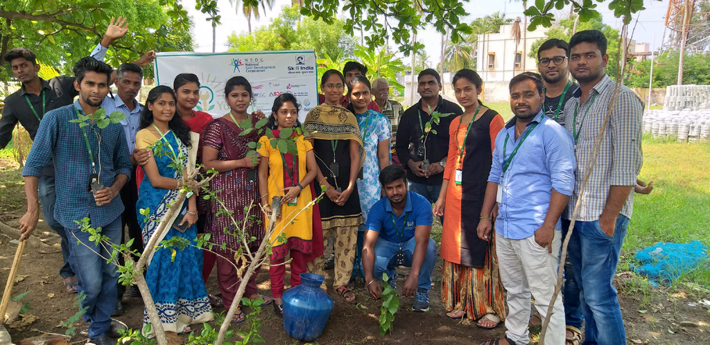 Employees celebrated World Environment Day by planting trees at Sona Yukti campus, Salem.