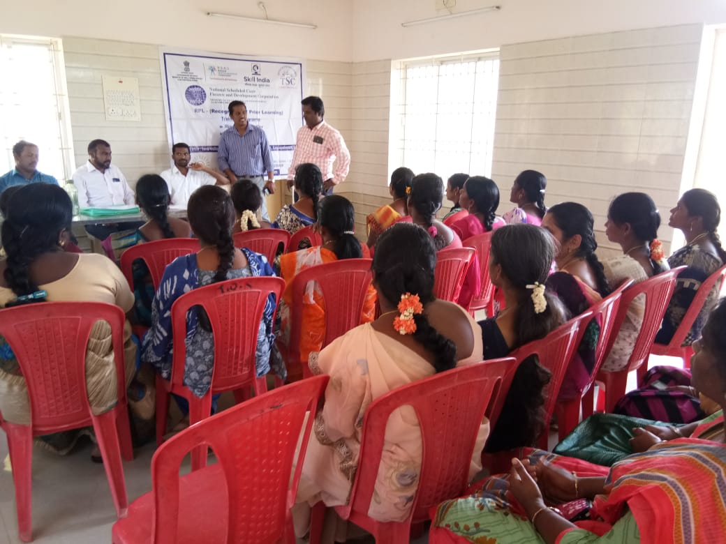 Textile Sector Skill Council Committee members held pre-screening for mobilized candidates, sponsored by NSFDC, at SonaYukti, Salem